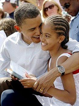 Barak Obama and Malia Obama